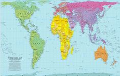 This is the Peters Map. It is an equal-area map, showing all the countries in their proportional (aka realistic) size.