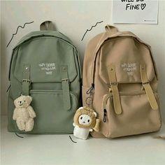Aesthetic Backpack, Aesthetic Bags, Korean Aesthetic, Beige Aesthetic, Preppy Backpack, Backpack Bags, Leather Backpack, Stylish School Bags, Cute School Bags