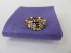 Fine Vintage 18k Yellow Gold 0.30 ct Diamond Buckle Ring, size 4 #Buckle $404 OBO