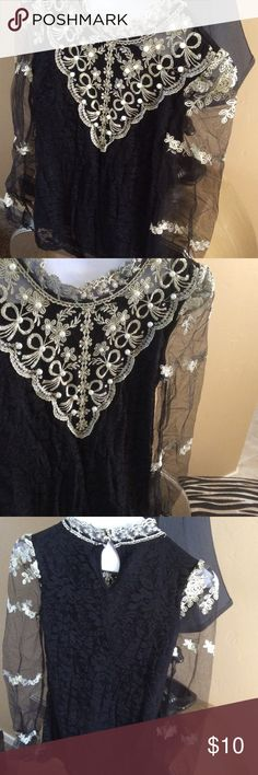 BEAUTIFUL VINTAGE STYLE EMBROIDERED BLOUSE so feminine and dressy! black stretchy, lined lace with sheer tulle sleeves. embroidered with gold-hued thread. asian sized, runs smaller. NWOT Tops Blouses