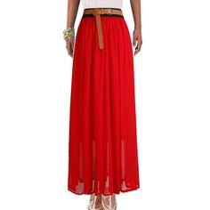 Bohemian Princess pleated Chiffon Long Skirt 16 Colors High Quality