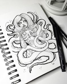 Random tentacle lady. I'm going to do something special with her!! ✨ #graphicartery #art #artist #artwork #sketch #drawing #illustration #tattoo #occult #witch #longhair #art_spotlight #art_empire #artcollective #ink #tattoos #artistsoninstagram #artoftheday #myart