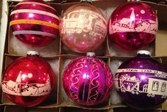 6-LOT-Vtg-ShinyBrite-Large-Stenciled-Glass-Christmas-Ornaments-Pink-Purple-Red