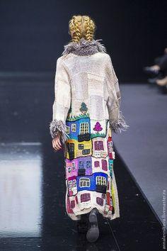 """Купить Пальто """"Хундертвассер forever!!!!!"""" - рисунок, Анна Лесникова, хундертвассер, трикотаж от кутюр, дизайнерская одежда"""