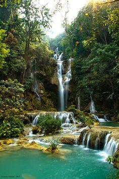 Kuang Si Falls, south of Luang Prabang, Laos | Justin Vidamo via Flickr via Wikimedia Commons