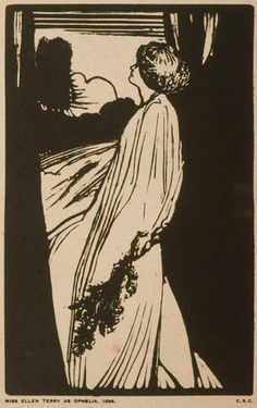 PORTRAIT OF ELLEN TERRY AS OPHELIA by Edward Gordon Craig (1872-1966) Woodcut dated 1896 -- Smallhythe Place --