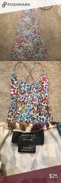 "Anthropologie Deletta multi color maxi dress XS Anthropologie Deletta multi color maxi dress. Size XS. Good condition! 93% rayon 7% spandex. Machine wash. 59"" length. Anthropologie Dresses Maxi"