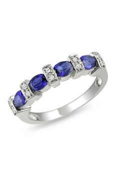 1 ct Created Blue Sapphire and 0.05 ct Diamond Ring