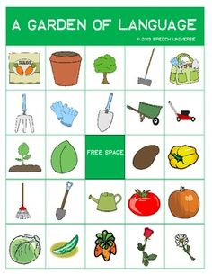 Free! A Garden of Language: Vocabulary Bingo. Repinned by SOS Inc. Resources pinterest.com/sostherapy/.