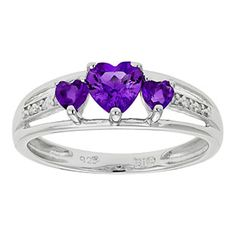 Diamond and 3 Stone Heart Amethyst Sterling Silver Ring Available Exclusively at Gemologica.com Valentine's Day 2015 Jewelry Gift Ideas for Him, Her and Kids. Gemologica has the perfect homemade and creative gifts for your boyfriend, girlfriend and for couples including rings, earrings, bracelets, necklaces and pendants. Shop now for special savings at www.gemologica.com Gift Guide Located at https://www.gemologica.com/jewelry-gift-guide-c-82.html