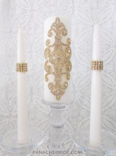 Wedding unity candle set or memorial candle.  Ivory or white, gold or silver.  Stunning!!! www.panachebride.etsy.com