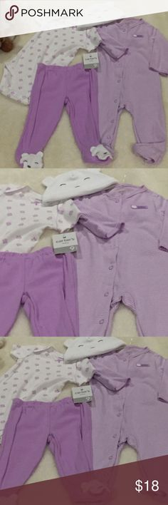 4 piece New w/Tags Carters Girls 9 mos set White and lavender--Adorable onesie/matching footed pantslong sleeve lavender and white stripe sleeper and adorable hat. 4 piece set New with Tags carters Matching Sets