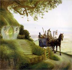 John Howe-Gandalf and Frodo in the Shire . Gandalf, Legolas, Alan Lee, Lotr Trilogy, Science Fiction, John Howe, Mystery, O Hobbit, Jrr Tolkien