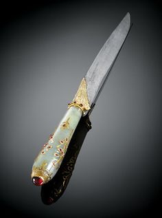 17th-century Moghul dagger is crafted of Burma rubies, white jade, gold and Damascus