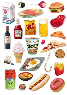 A personal project. I always loved stickers. Food Stickers, Printable Stickers, Cute Stickers, Kawaii Stickers, Art Kawaii, Watercolor Food, Food Painting, Prop Design, Design Ideas