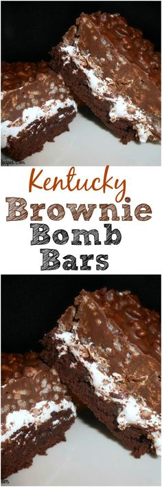 Kentucky brownie bomb bars, with fluff, chocolate, peanut butter, and Rice Krispies 13 Desserts, Cookie Desserts, Chocolate Desserts, Delicious Desserts, Yummy Treats, Sweet Treats, Yummy Food, Chocolate Chips, Brownie Mix Desserts