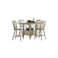 Jofran Burnt Grey 5-Piece Round Pedestal Dining Room Set in Solid Oak ❤ liked on Polyvore featuring home, furniture, grey dining table set, oak table and chairs, 5pc dining set, 5 pc dining table set and 5 piece oak dining set