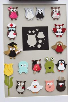 hello stamper-I made this display picture to take to my parties and events to show people some of the fun ways they can use the owl punch. You can make pirates, pigs, tulips, reindeer, robins, and more! My favourite are the graduate owl, the bride and groom and the hen!: