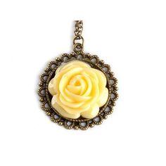 New Korea Retro Vintage Palace Yellow Rose Flower Pendant Long Chain Necklace: Jewelry: Amazon.com