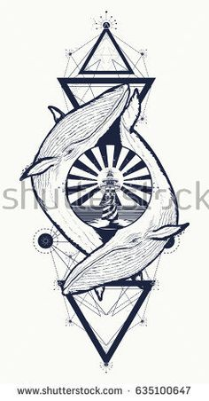 Two whales and lighthouse tattoo geometric style. Adventure, travel, outdoors, meditation symbol. Whales tattoo for hipsters, travelers. Two whale lovers tattoo, t-shirt design, boho style