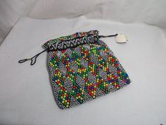 Vintage 60s MOD Candy Plastic Beads Retro BOHO Black Drawstring Purse NOS Koppi #Handmade #ShoulderBag