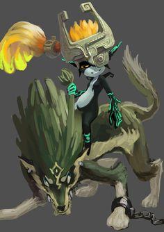 The Legend of Zelda: Twilight Pirncess wolf link and midna