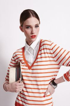 Boyfriend Vee - Blood Orange Stripe - Silk/Cashmere Blend @banjoandmatilda