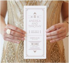 Gatsby invitation menu stationary #artdeco #weddings #invitations www.thecarlyleclub.com