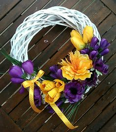 Easter And Spring White Wreath With Yellow And Purple Flowers