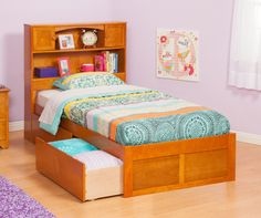 Found it at Wayfair - Urban Lifestyle Newport Bookcase Bed with Bed Drawers Set Solid Wood Furniture, Kids Furniture, Bedroom Furniture, Solid Wood Bunk Beds, Floating Drawer, Wooden Platform Bed, Captains Bed, Atlantic Furniture, Bookcase Headboard