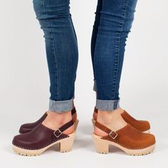 New tractor sole clogs in aubergine and brown oiled nubuck (and black)