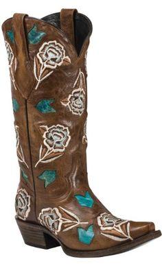 Nice Black Star CIMARRON (Brown/Turquoise) Women's Cowboy Boots