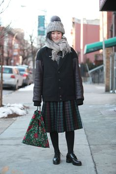 """Name: Layla SaitoSpotted In: WilliamsburgWhat She's Wearing: An Alexander Wang coat.What's one winter accessory you can't live without?  """"Heat-technology clothing."""""""