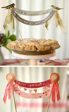 DIY cake topper - ribbons, paper cut-outs, pasta alphabet letters, craft sticks & glue