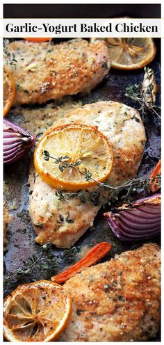 Flavorful, delicious baked chicken, marinated in a yogurt mixture with garlic and thyme. Your new favorite din din!