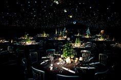 This magical Christmas party marquee was created with blackout wall linings… Magical Christmas, Special Events, Table Settings, Clever, Place Settings, Table Arrangements, Desk Layout