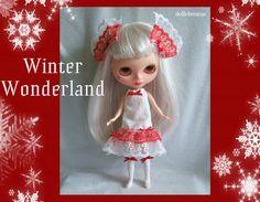 WINTER WONDERLAND feestelijke jurk sokken en haren bogen handgemaakte voor Blythe poppen - door dolls4emma