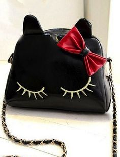 Cute Black Kitty Hand Bag with Bow