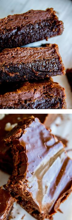 Nana's Famous Fudge Brownie recipe, from The Food Charlatan. The most decadent fudge brownies with chocolate fudge frosting you will ever eat! These brownies are thick and chewy and not cakey in any way shape or form. They really do taste like fudge. My husband's grandma (Nana) is famous for this recipe! You can add walnuts if you like, or add them to half the pan. So rich!