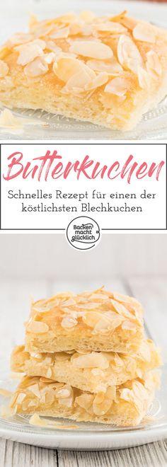 Dieser köstliche Butterkuchen mit Mandeln ist ein beliebter Blechkuchen-Klassiker ohne großen Aufwand. Durch den optionalen Sahneguss wird der Butterkuchen besonders saftig.
