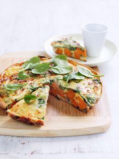 Sweet potato and spinach tortilla - Australian Heart Foundation Heart Healthy Recipes, Veggie Recipes, Vegetarian Recipes, Raw Recipes, Healthy Heart, Veggie Meals, Savoury Recipes, Health Recipes, Yummy Recipes