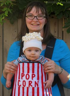 DIY Costume Ideas – Raggedy Ann, bag-o-popcorn, Pacman crew, LEGO man Baby Halloween Costumes, Baby Costumes, Popcorn Festival, Holidays Halloween, Halloween 2015, Halloween Stuff, Halloween Ideas, Raggedy Ann Costume, Clever Costumes