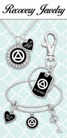 Celebrate sobriety with customized date jewelry - $9.98! Great for anniversaries and supporting loved ones! Also find custom initials and family members in our Recovery Collection!