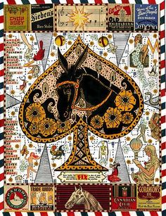 Ace of spades (with horse) by Tony Fitzpatrick. Collage