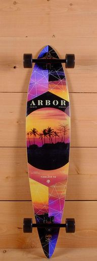"""The Arbor 46"""" Timeless is designed for carving and cruising. Pressed wtih 7 plies of sustainable maple, it measures 42"""" long and 8.75"""" wide. The directional platform has wheel wells to reduce wheel bite. The platform has radial concave and flex for push comfort."""