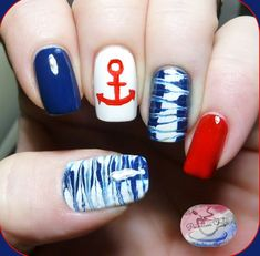 4th of July Nautical Theme Nails: Use needle marbling to rock your patriotic color and you can get what is just for you on your memorial day. See the tutorial