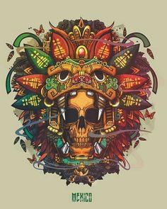 Brilliant illustration artwork by Pequeño Capitan Mx Santiago. Such an amazing work will be liked by you all. Street Art Graffiti, Totenkopf Tattoo, Aztec Warrior, Mexico Art, Mexico 2017, Skull Artwork, Aztec Art, Illustration Vector, Desenho Tattoo