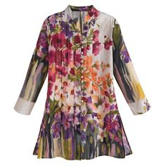 Womens Tunic Top  Purple  Pink Watercolor Flower Garden Shirt  Medium *** Click image to review more details.Note:It is affiliate link to Amazon.