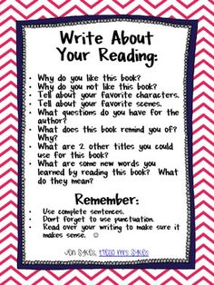 Reading Response Chart Freebie