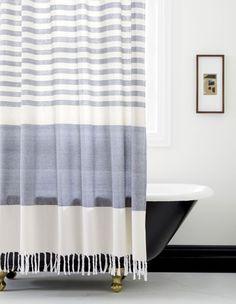 karla cement shower curtain | CB2
